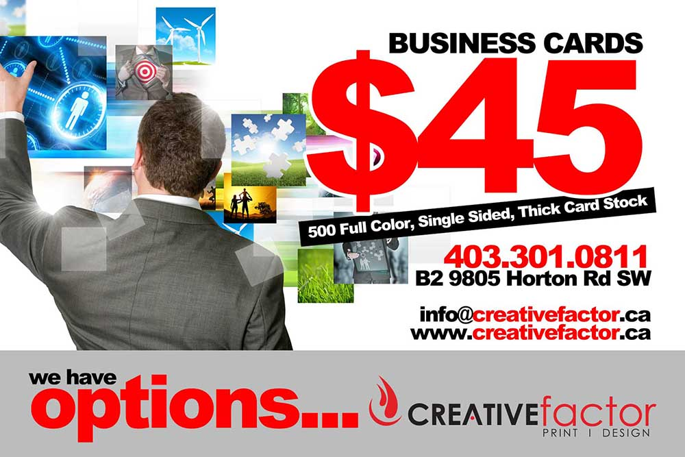 Creative factor calgary design print large format printing creative factor business card printing reheart Choice Image