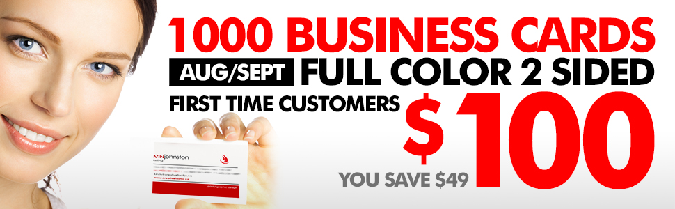 Business card Printing Special – CREATIVE FACTOR – 1000 cards for 100 BUX!